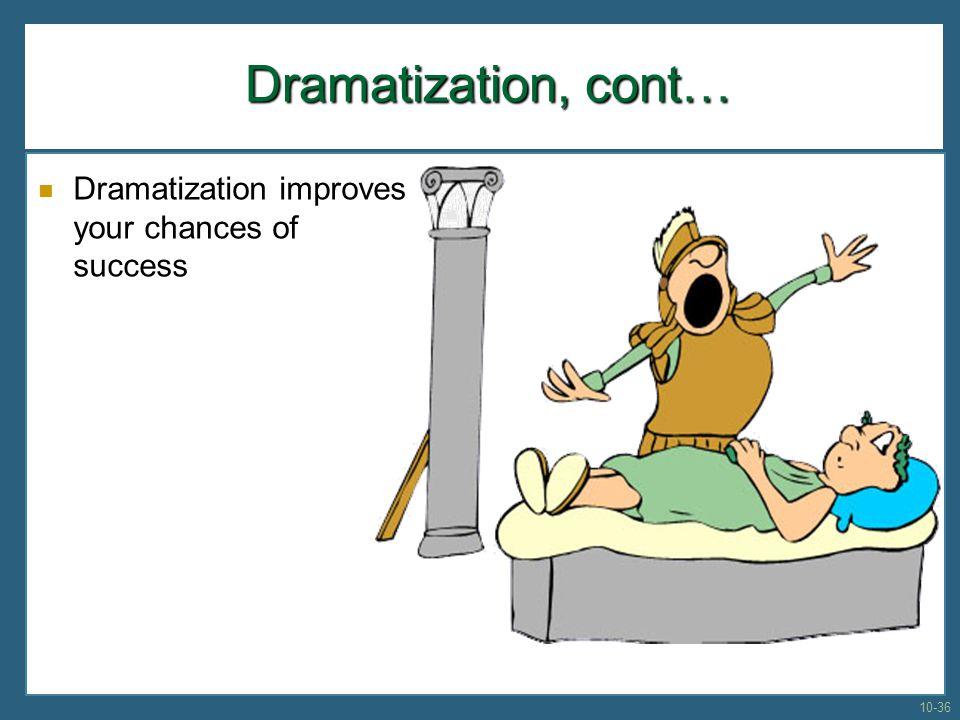 Dramatization, cont… Dramatization improves your chances of success 10-36