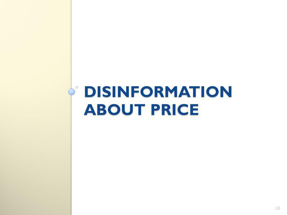 DISINFORMATION ABOUT PRICE 10
