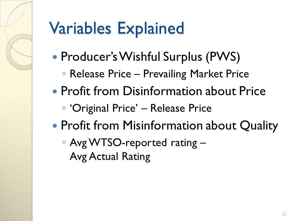 Variables Explained Producers Wishful Surplus (PWS) Release Price – Prevailing Market Price Profit from Disinformation about Price Original Price – Release Price Profit from Misinformation about Quality Avg WTSO-reported rating – Avg Actual Rating 22