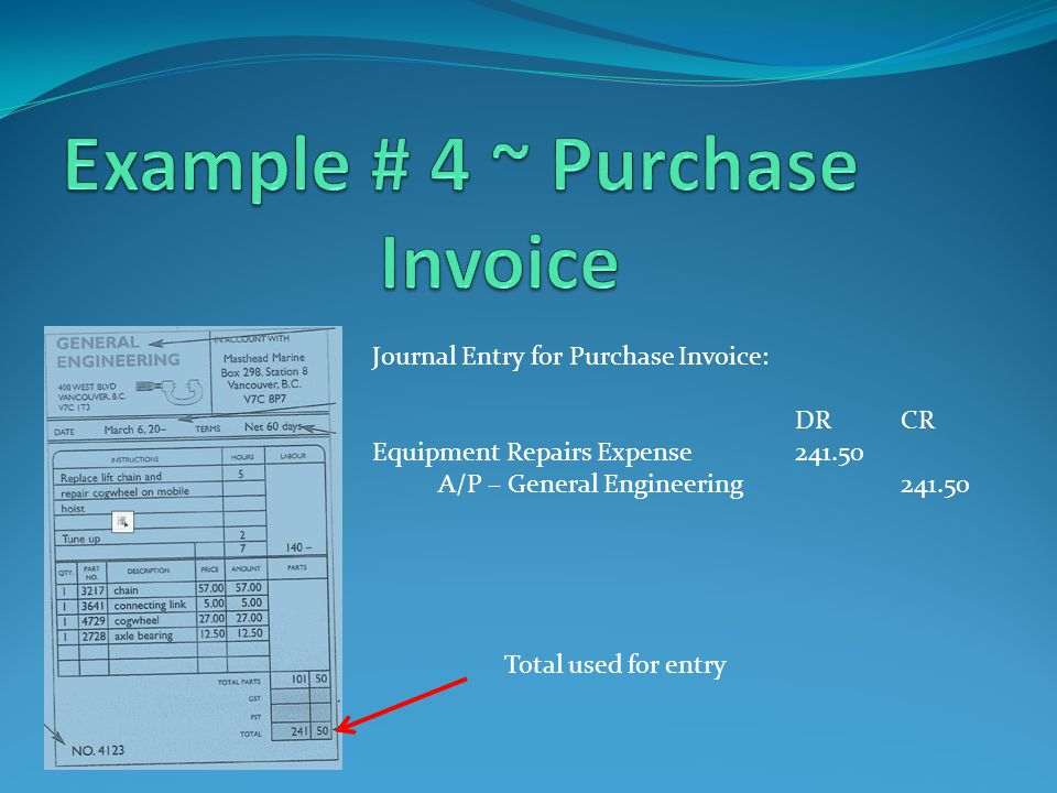 Journal Entry for Purchase Invoice: DRCR Equipment Repairs Expense241.50 A/P – General Engineering241.50 Total used for entry