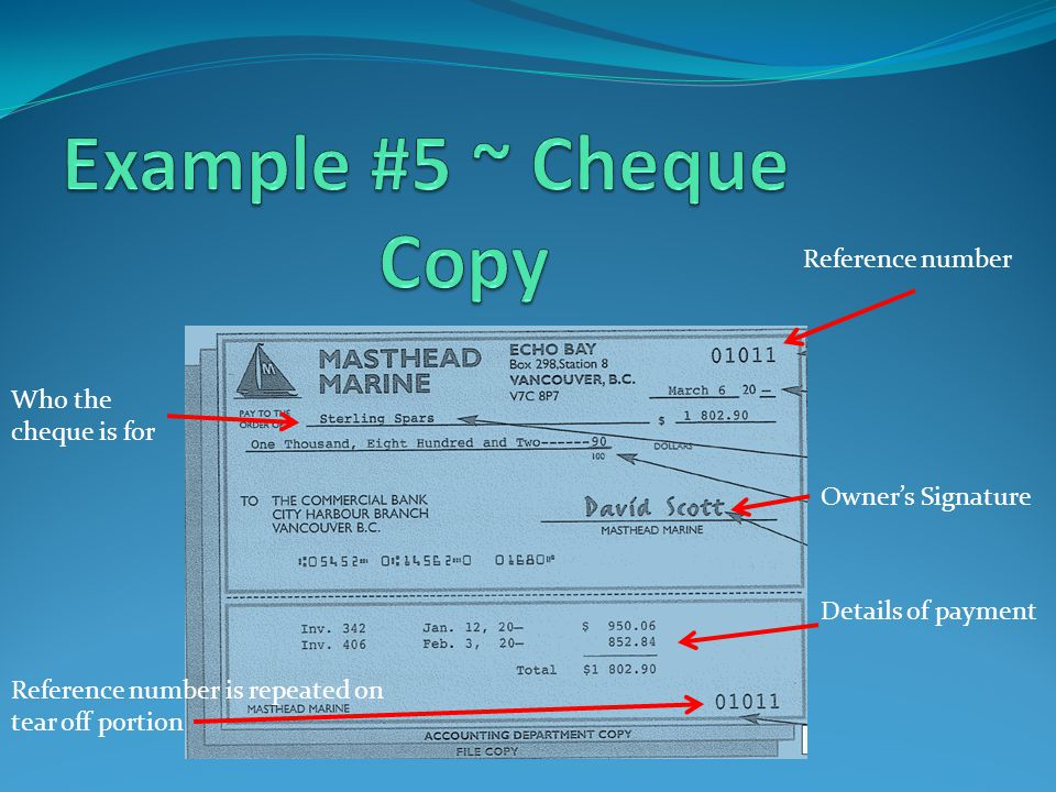 Who the cheque is for Reference number Owners Signature Reference number is repeated on tear off portion Details of payment