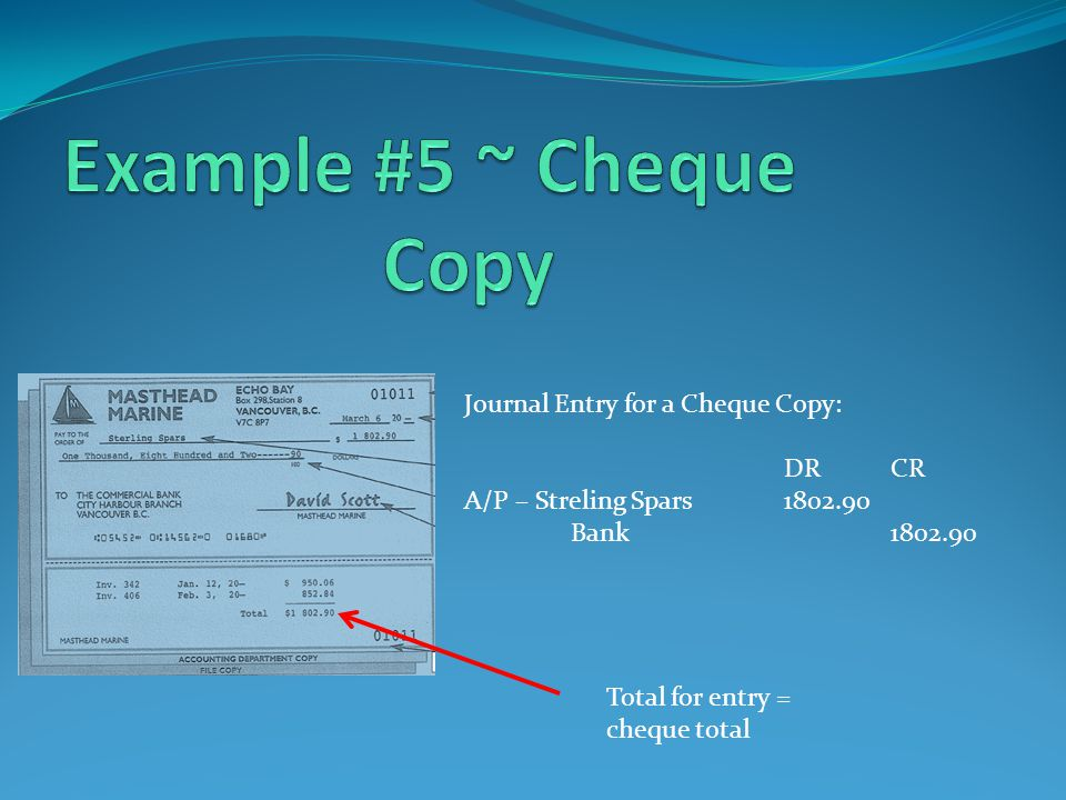 Journal Entry for a Cheque Copy: DRCR A/P – Streling Spars1802.90 Bank1802.90 Total for entry = cheque total