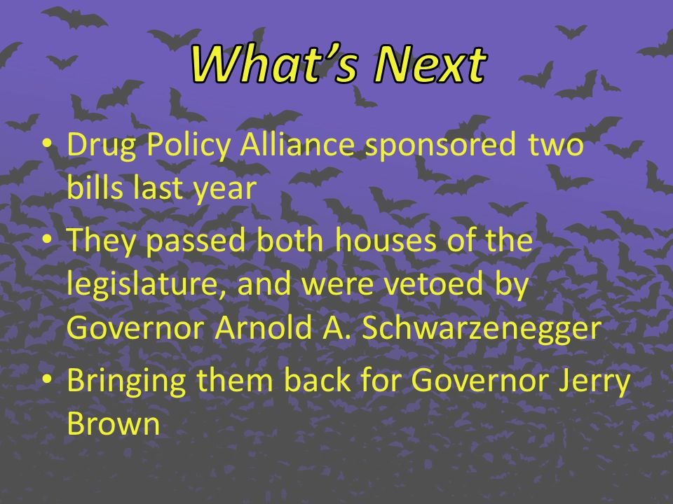 Drug Policy Alliance sponsored two bills last year They passed both houses of the legislature, and were vetoed by Governor Arnold A. Schwarzenegger Br