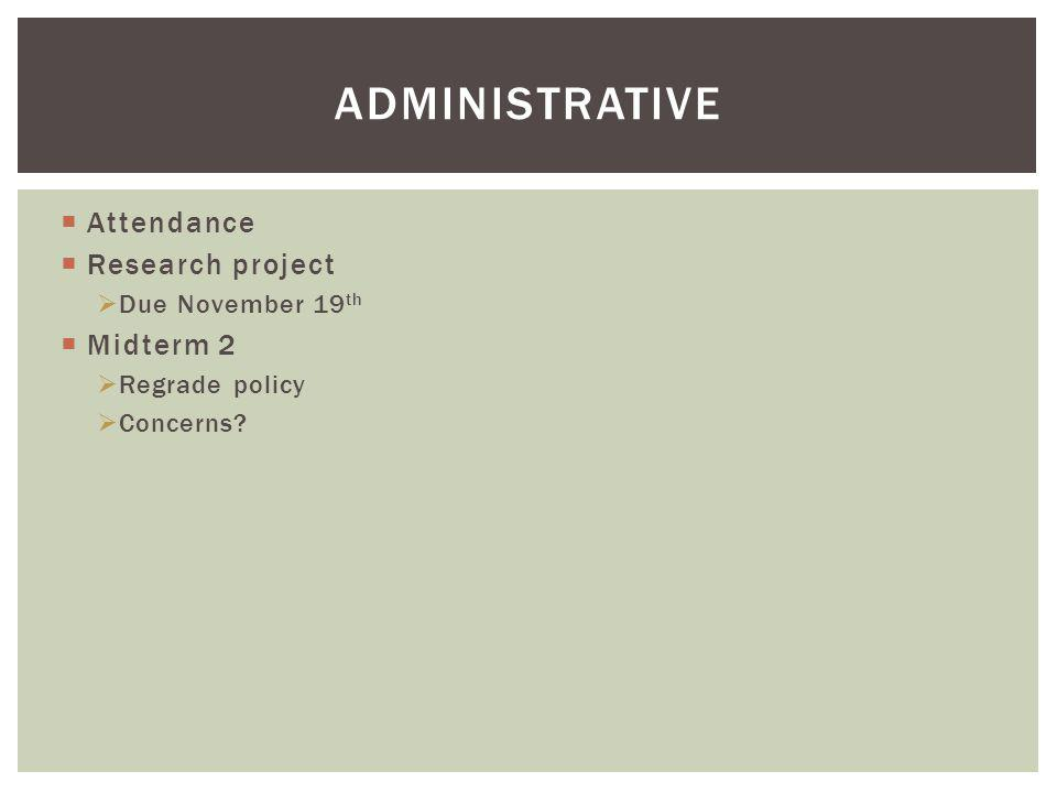 ADMINISTRATIVE Attendance Research project Due November 19 th Midterm 2 Regrade policy Concerns?