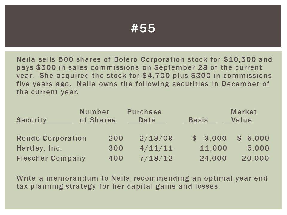 Neila sells 500 shares of Bolero Corporation stock for $10,500 and pays $500 in sales commissions on September 23 of the current year. She acquired th