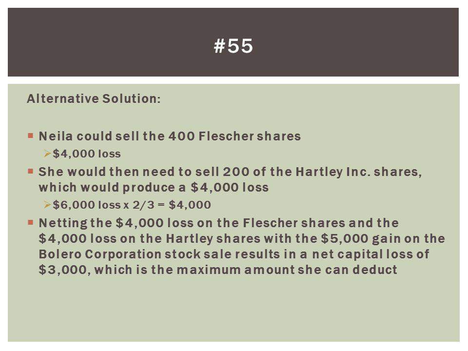 Alternative Solution: Neila could sell the 400 Flescher shares $4,000 loss She would then need to sell 200 of the Hartley Inc. shares, which would pro