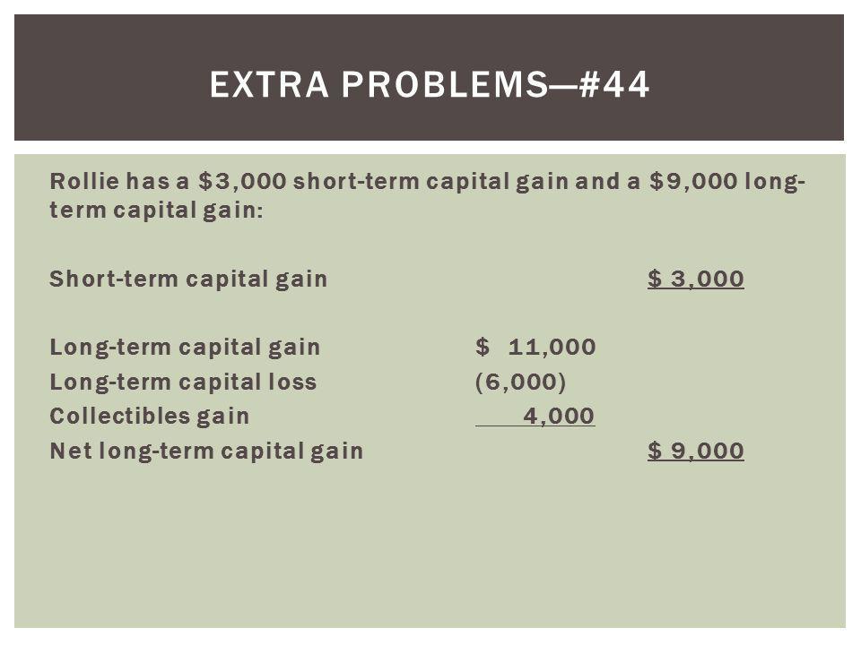 Rollie has a $3,000 short-term capital gain and a $9,000 long- term capital gain: Short-term capital gain$ 3,000 Long-term capital gain$ 11,000 Long-t