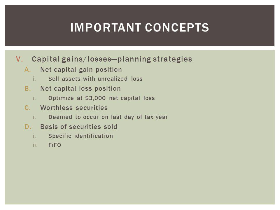 V.Capital gains/lossesplanning strategies A.Net capital gain position i.Sell assets with unrealized loss B.Net capital loss position i.Optimize at $3,