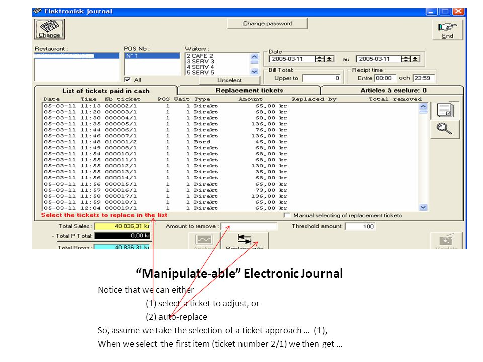Manipulate-able Electronic Journal Notice that we can either (1) select a ticket to adjust, or (2) auto-replace So, assume we take the selection of a