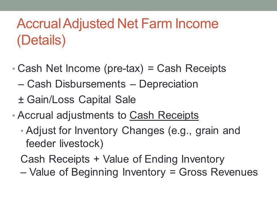 Accrual Adjusted Net Farm Income (Details) Cash Net Income (pre-tax) = Cash Receipts – Cash Disbursements – Depreciation ± Gain/Loss Capital Sale Accr