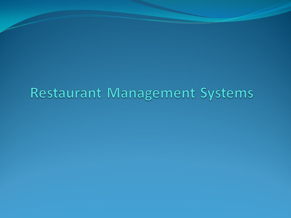 Restaurant Management System Point-of-Sale Systems Table Management Systems Home Delivery Software Inventory Control System Menu Management System Recipe Management Nutritional Analysis
