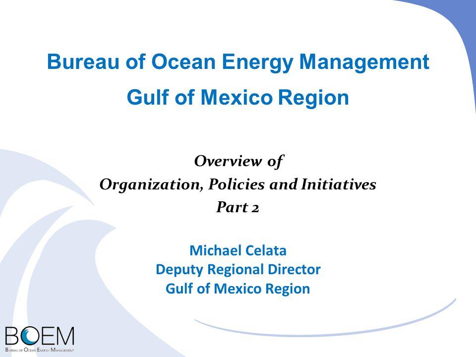 Bureau of Ocean Energy Management Gulf of Mexico Region Overview of Organization, Policies and Initiatives Part 2 Michael Celata Deputy Regional Direc