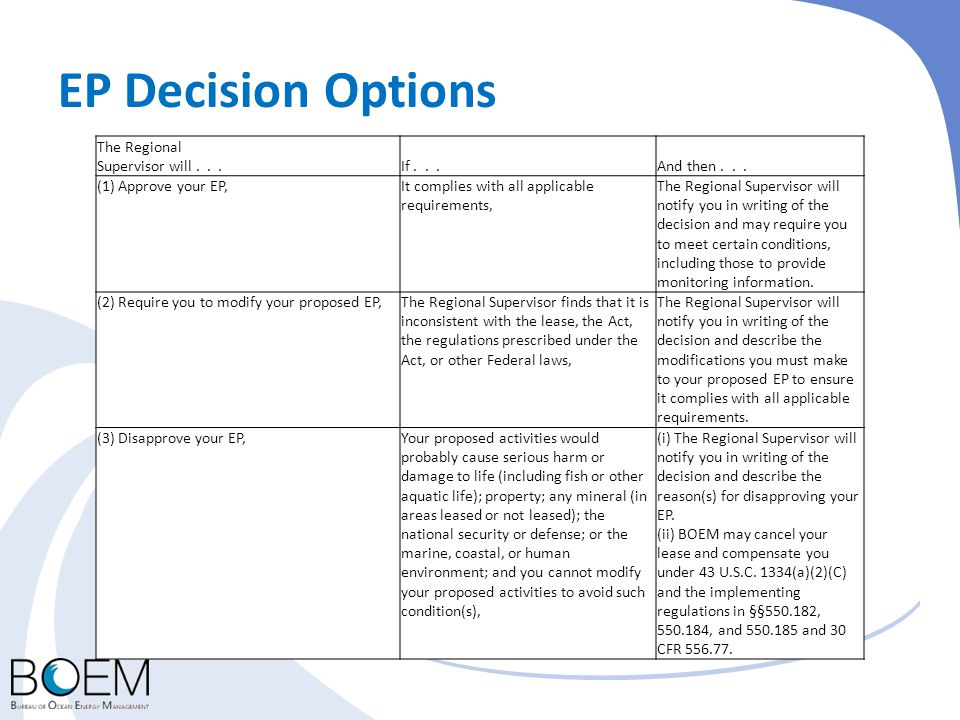 EP Decision Options The Regional Supervisor will...If...And then... (1) Approve your EP,It complies with all applicable requirements, The Regional Sup