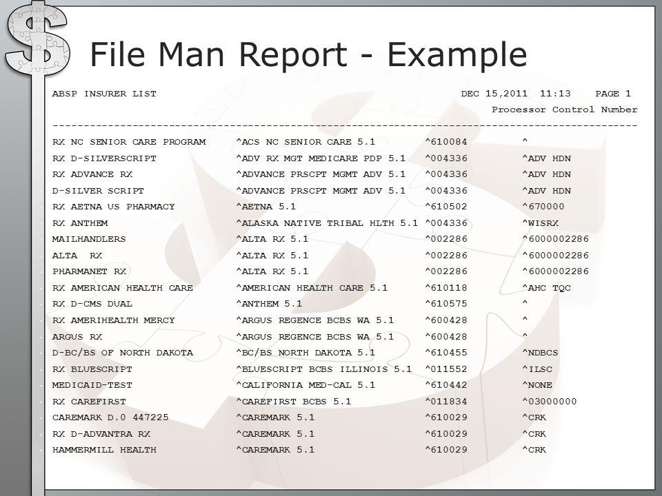 File Man Report - Example ABSP INSURER LIST DEC 15,2011 11:13 PAGE 1 Processor Control Number --------------------------------------------------------