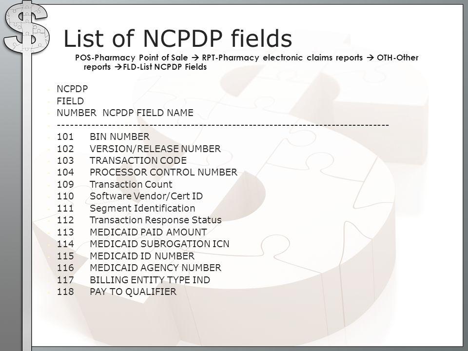 NCPDP FIELD NUMBER NCPDP FIELD NAME -------------------------------------------------------------------------------- 101 BIN NUMBER 102 VERSION/RELEAS