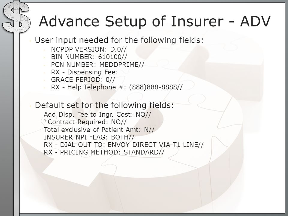 MEDICARE MEDICARE PARTD?: Y// Maximum RX s Per Claim: 1// RX PRIORITY: 650// NCPDP FIELD SPECIAL CODE: 304, 436, 455 MEDICAID MEDICARE PARTD?: N// Maximum RX s Per Claim: 4// RX PRIORITY: 5// NCPDP FIELD SPECIAL CODE: 304, 436, 455 PRIVATE MEDICARE PARTD?: N// Maximum RX s Per Claim: 4// RX PRIORITY: 20// NCPDP FIELD SPECIAL CODE: 436, 455 Default for type of insurer SUPPRESS NCPDP FIELD: 115, 147, 334, 350, 354, 357, 359, 360, 361, 364, 365, 366, 367, 368, 384, 391, 420, 458, 459, 494, 495, 496, 497, 498, 499, 524, 995, 996, 997
