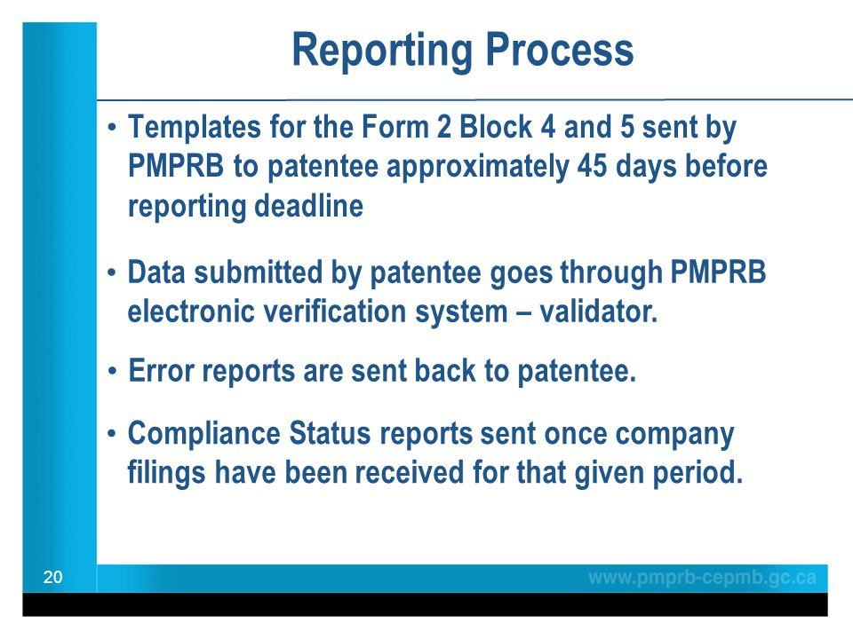 Reporting Process Templates for the Form 2 Block 4 and 5 sent by PMPRB to patentee approximately 45 days before reporting deadline 20 Compliance Statu