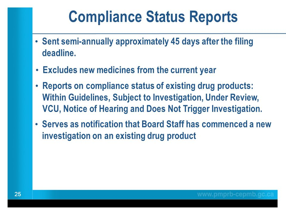 Compliance Status Reports Sent semi-annually approximately 45 days after the filing deadline. 25 Serves as notification that Board Staff has commenced
