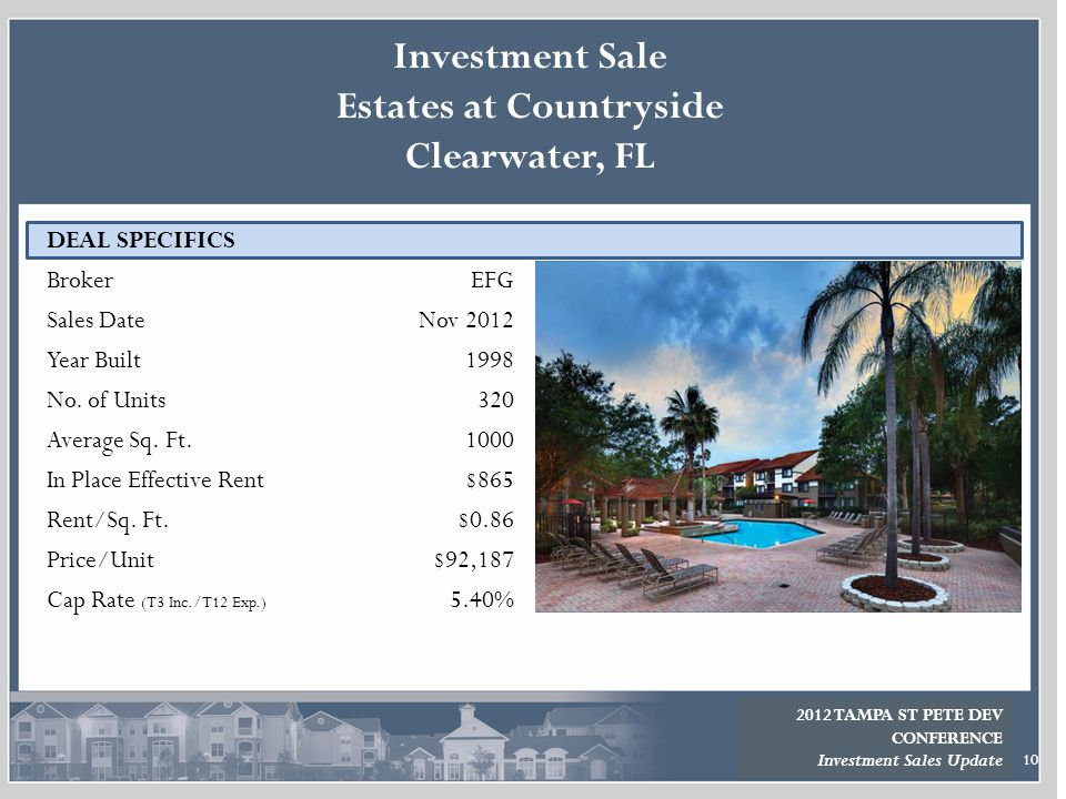 10 DEAL SPECIFICS Broker Sales Date Year Built No. of Units Average Sq. Ft. In Place Effective Rent Rent/Sq. Ft. Price/Unit Cap Rate (T3 Inc./T12 Exp.