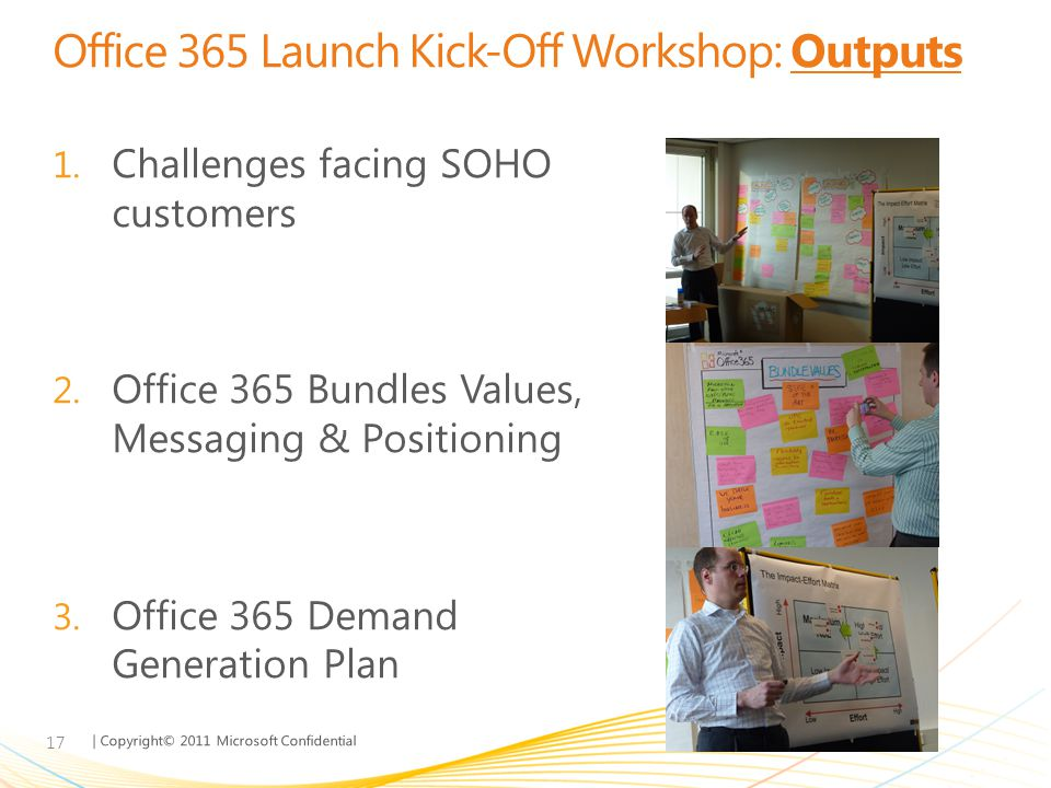 | Copyright© 2011 Microsoft Confidential Office 365 Launch Kick-Off Workshop: Outputs 17 1. Challenges facing SOHO customers 2. Office 365 Bundles Val
