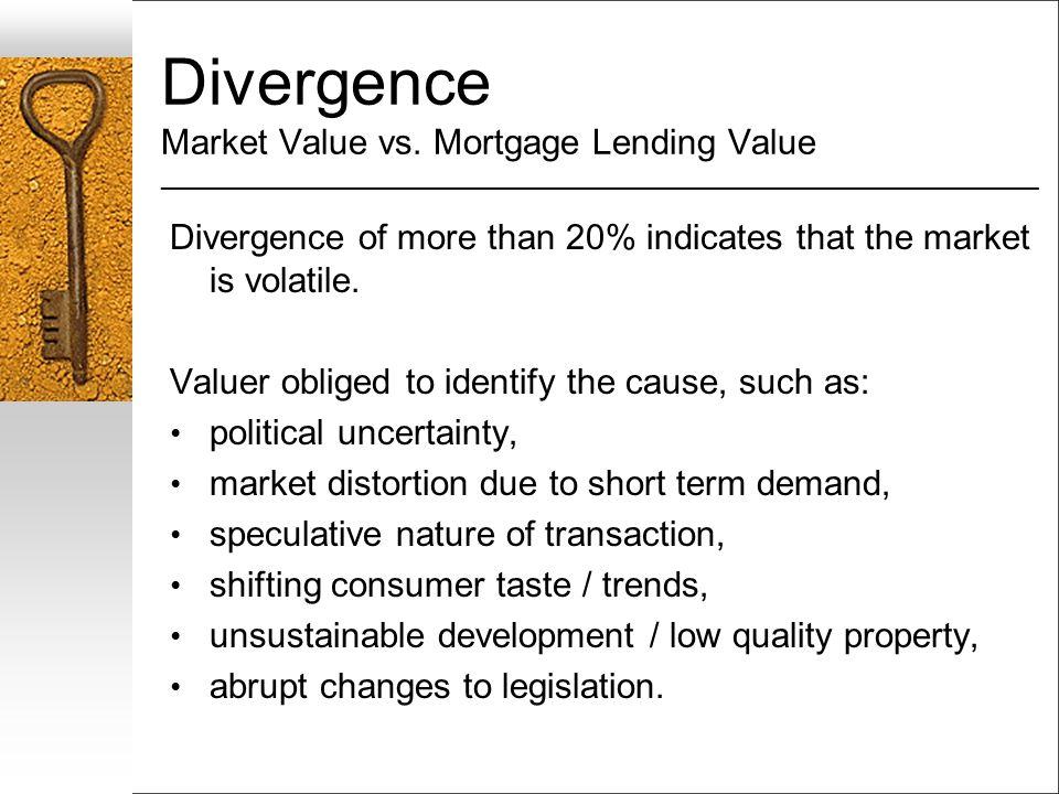 Divergence Market Value vs. Mortgage Lending Value ___________________________________________________________________ Divergence of more than 20% ind