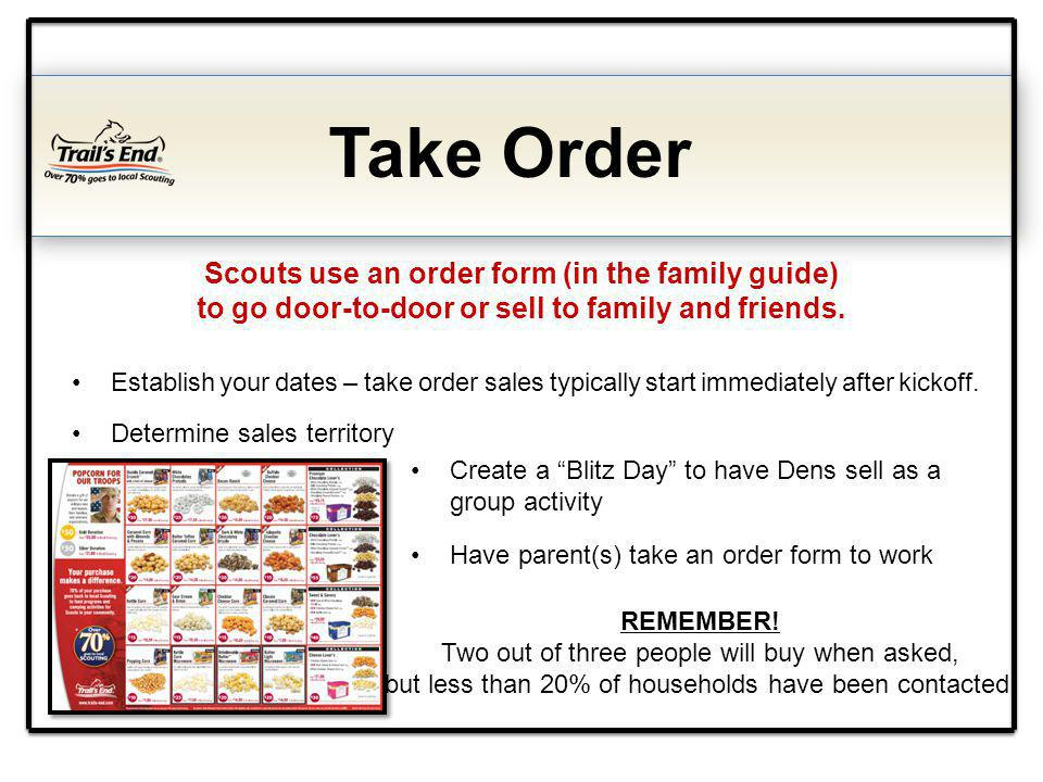 Take Order Scouts use an order form (in the family guide) to go door-to-door or sell to family and friends.
