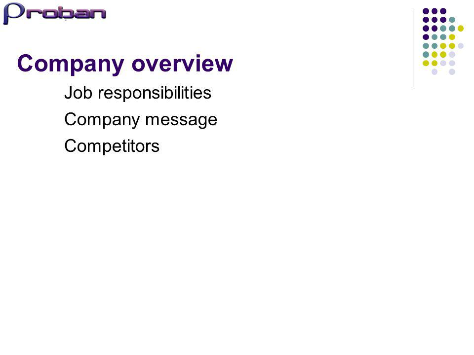 Company overview Job responsibilities Company message Competitors