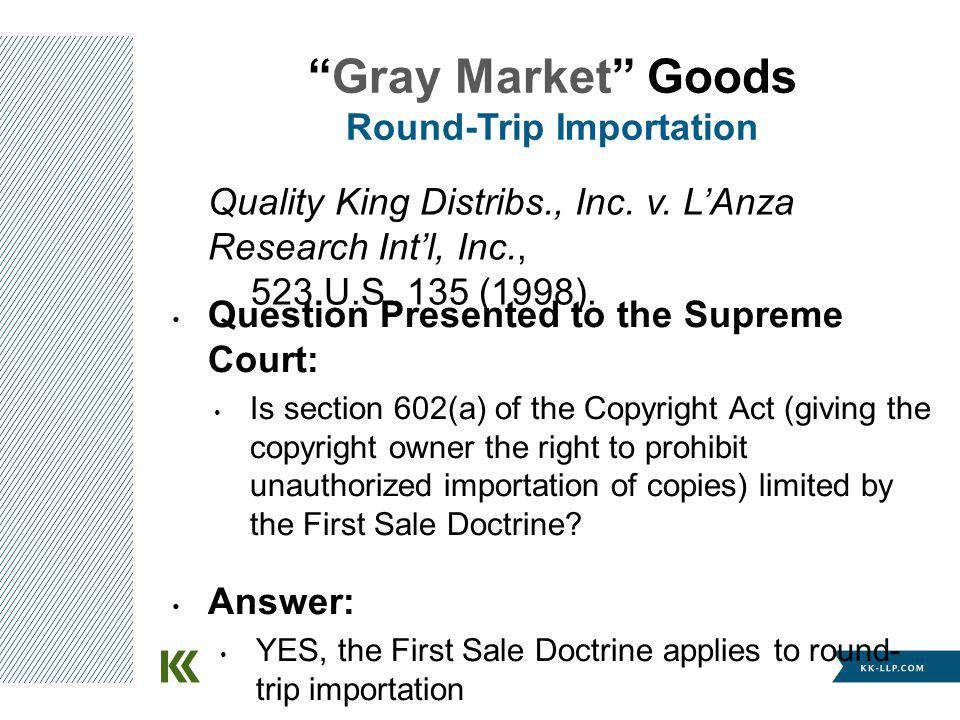 Quality King Distribs., Inc. v. LAnza Research Intl, Inc., 523 U.S. 135 (1998). Gray Market Goods Round-Trip Importation Question Presented to the Sup