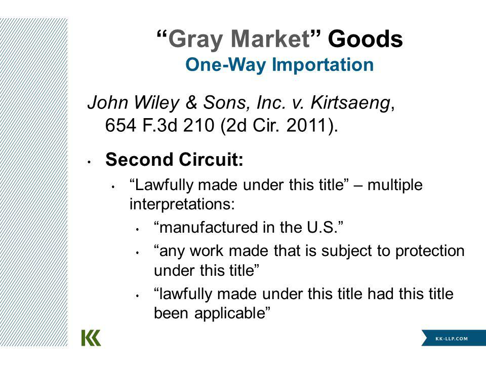 Gray Market Goods One-Way Importation Second Circuit: Lawfully made under this title – multiple interpretations: manufactured in the U.S.