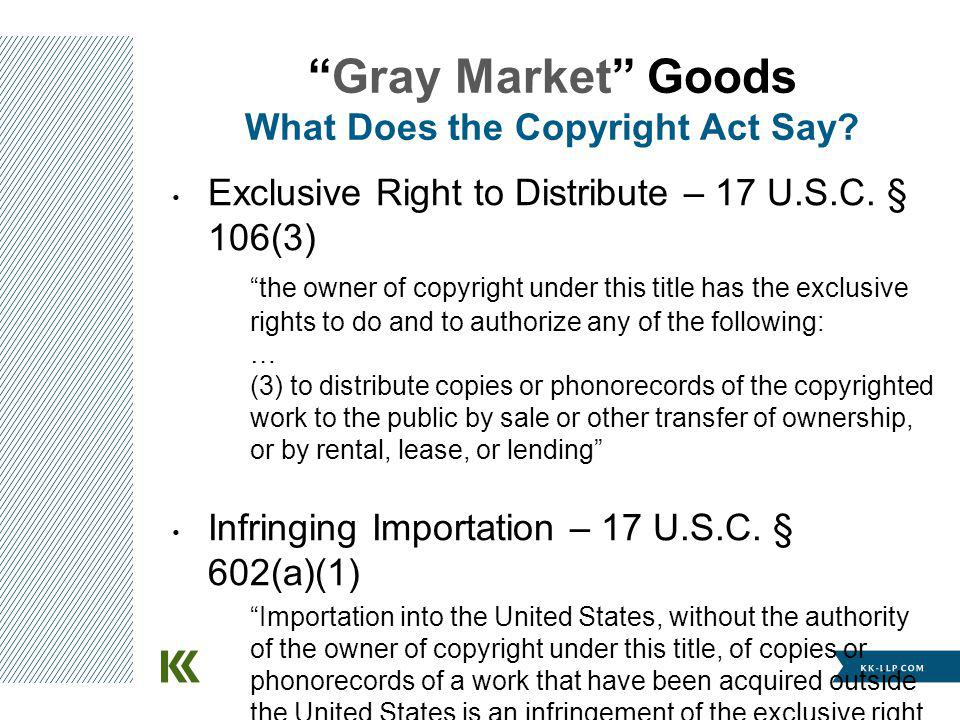 Exclusive Right to Distribute – 17 U.S.C. § 106(3) the owner of copyright under this title has the exclusive rights to do and to authorize any of the