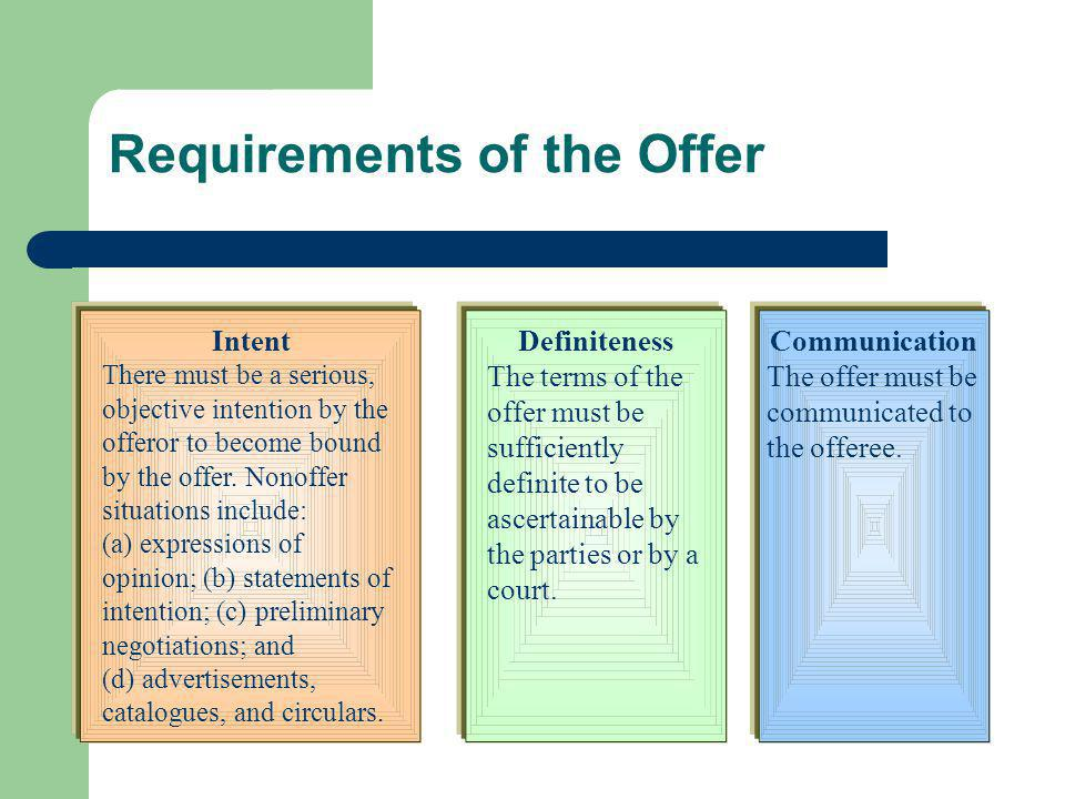 Requirements of the Offer Intent There must be a serious, objective intention by the offeror to become bound by the offer. Nonoffer situations include