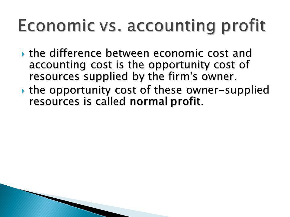the difference between economic cost and accounting cost is the opportunity cost of resources supplied by the firm's owner. the difference between eco