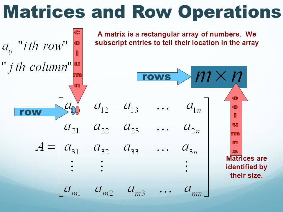 row rows A matrix is a rectangular array of numbers.