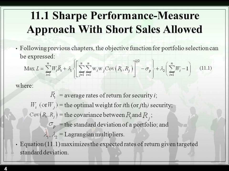 According to Lintners method: Now to scale the values into an optimum portfolio, apply Equation (11.11): The difference between Lintners method and the standard method are due to the different definitions of short selling discussed earlier.
