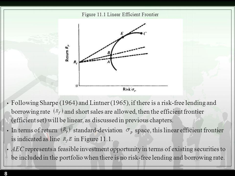 Figure 11.1 Linear Efficient Frontier Following Sharpe (1964) and Lintner (1965), if there is a risk-free lending and borrowing rate and short sales a