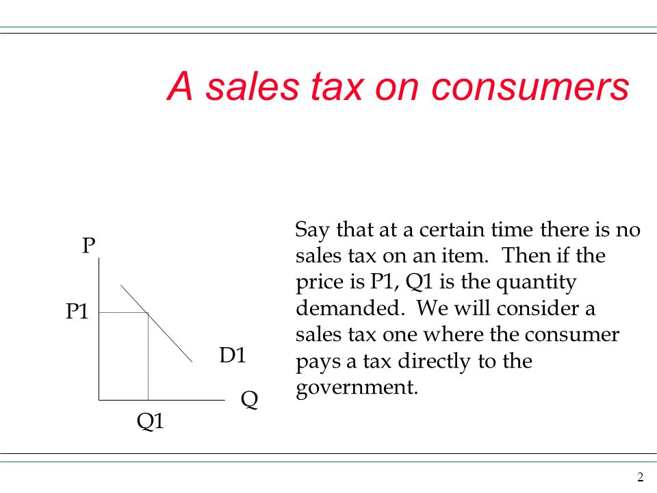 2 A sales tax on consumers P Q D1 P1 Q1 Say that at a certain time there is no sales tax on an item. Then if the price is P1, Q1 is the quantity deman
