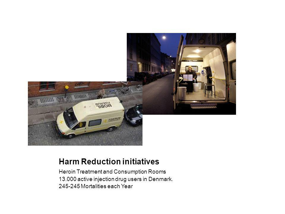 Harm Reduction initiatives Heroin Treatment and Consumption Rooms 13.000 active injection drug users in Denmark.