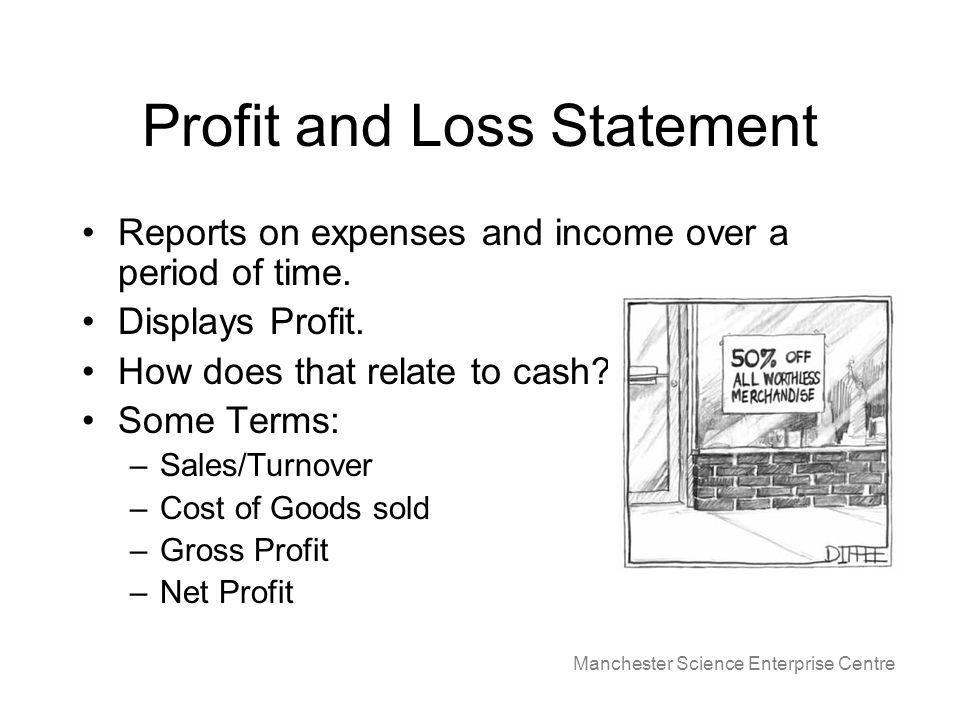 Manchester Science Enterprise Centre Profit and Loss Statement Reports on expenses and income over a period of time.