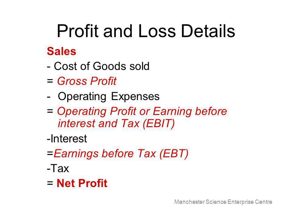 Manchester Science Enterprise Centre Profit and Loss Details Sales - Cost of Goods sold = Gross Profit -Operating Expenses = Operating Profit or Earning before interest and Tax (EBIT) -Interest =Earnings before Tax (EBT) -Tax = Net Profit