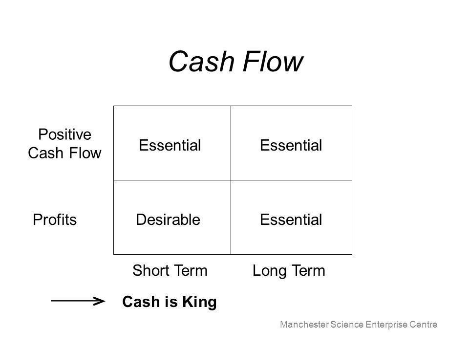 Manchester Science Enterprise Centre Cash Flow Long TermShort Term Positive Cash Flow Profits Essential DesirableEssential Cash is King