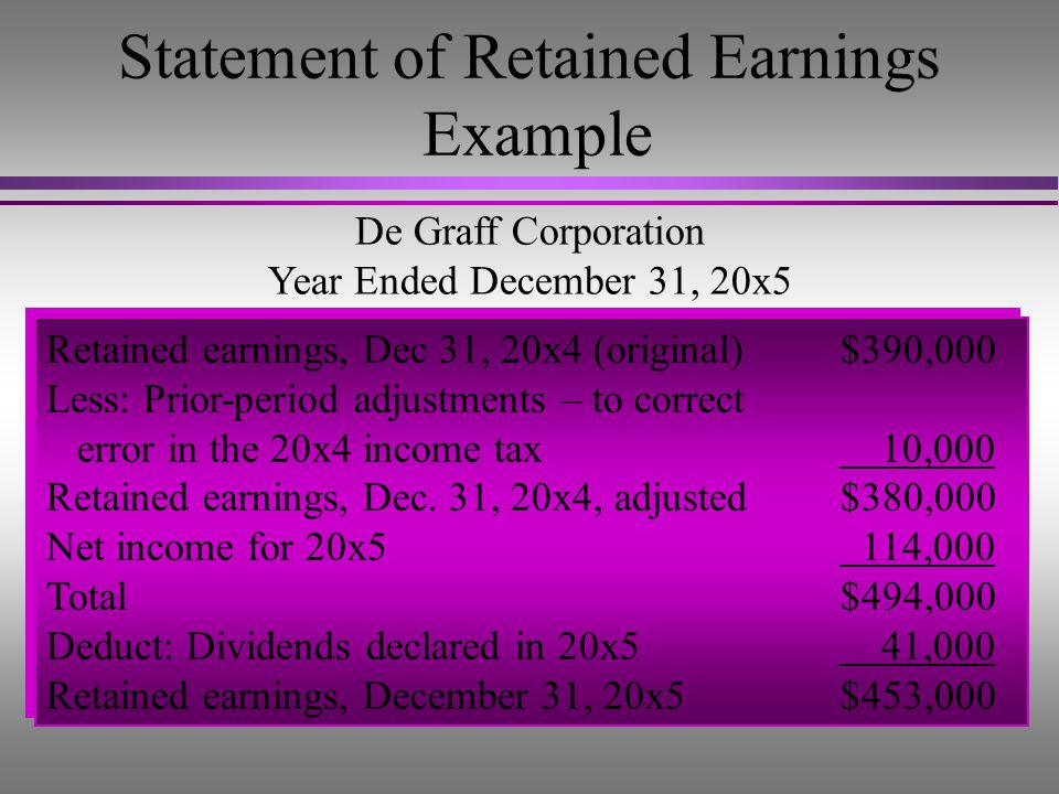 Prior Period Adjustments... – are corrections to the beginning balance of Retained Earnings for errors of an earlier period. l The correcting entry in