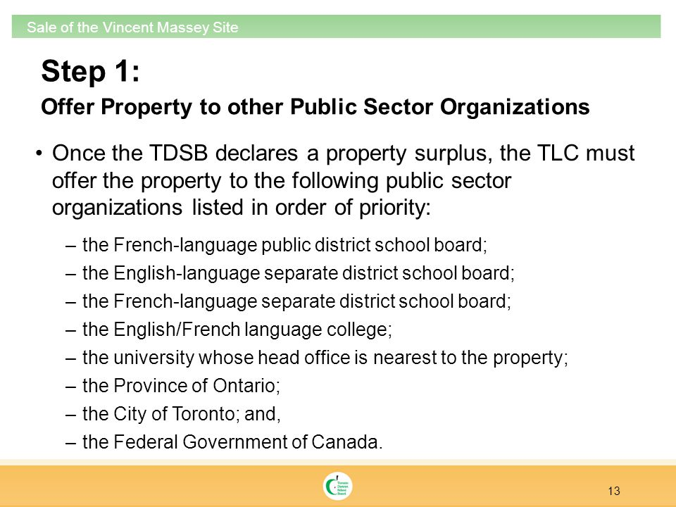 Step 1: Once the TDSB declares a property surplus, the TLC must offer the property to the following public sector organizations listed in order of pri