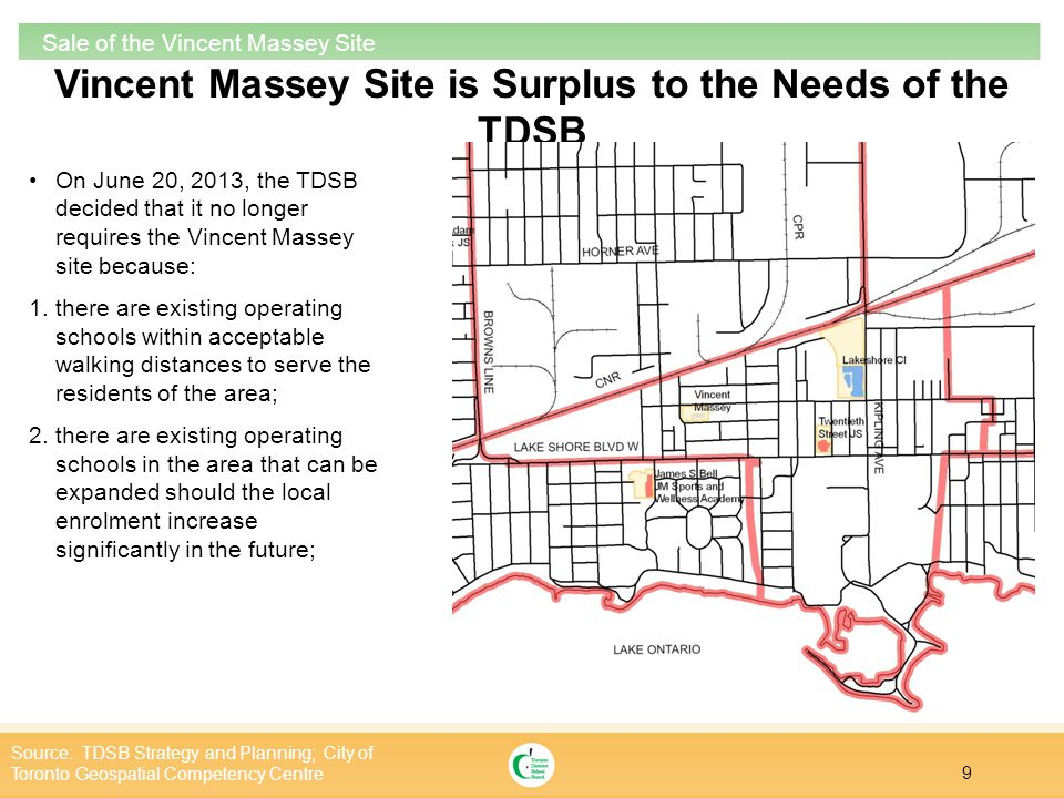20 Sale of the Vincent Massey Site Area Map Source: TDSB Strategy and Planning; City of Toronto Geospatial Competency Centre