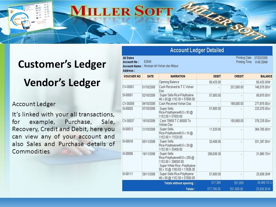 Account Ledger Its linked with your all transactions, for example, Purchase, Sale, Recovery, Credit and Debit, here you can view any of your account a