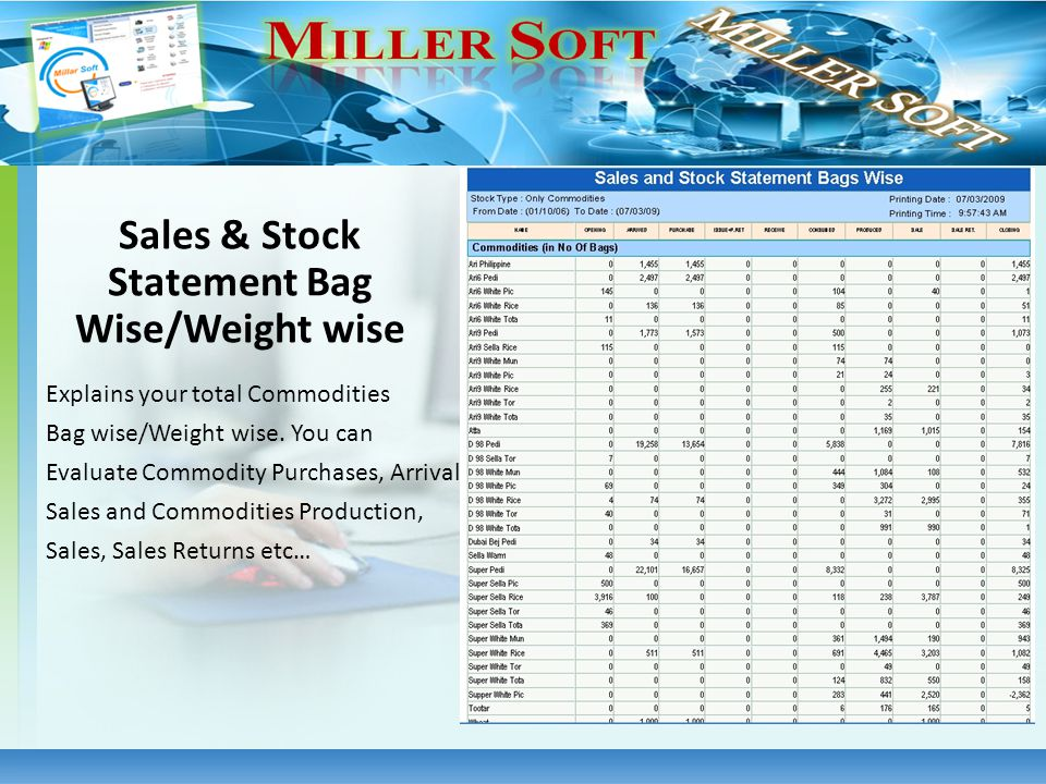 Explains your total Commodities Bag wise/Weight wise. You can Evaluate Commodity Purchases, Arrivals, Sales and Commodities Production, Sales, Sales R