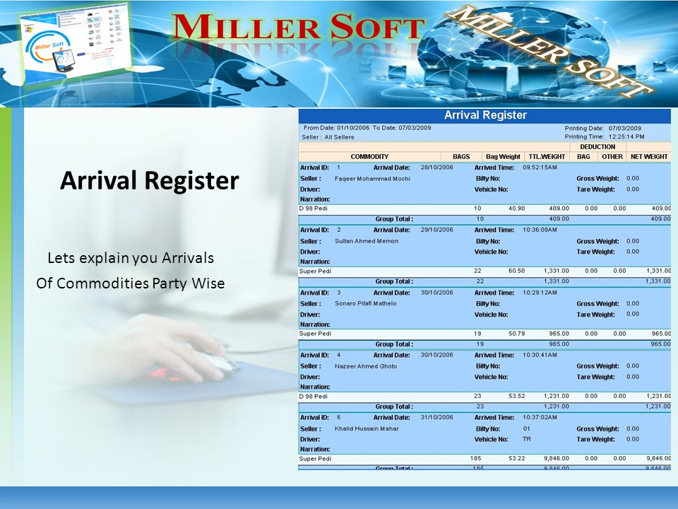Lets explain you Arrivals Of Commodities Party Wise Arrival Register