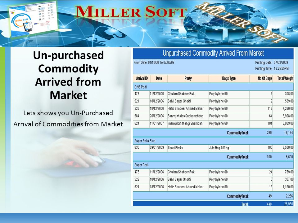 Lets shows you Un-Purchased Arrival of Commodities from Market Un-purchased Commodity Arrived from Market