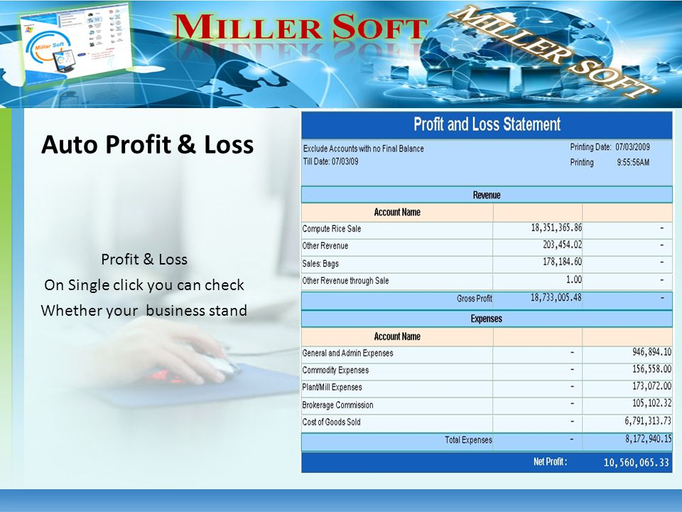 Profit & Loss On Single click you can check Whether your business stand Auto Profit & Loss
