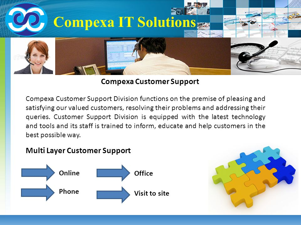 Multi Layer Customer Support Online Phone Visit to site Office Compexa IT Solutions Compexa Customer Support Compexa Customer Support Division functio