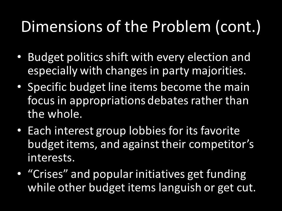 Dimensions of the Problem (cont.) Budget politics shift with every election and especially with changes in party majorities.